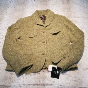 Alfani NWT Green Wool Blend 3 Button Blazer